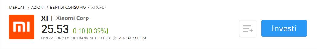 Comprare azioni Xiaomi CFD eToro