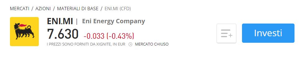 Comprare azioni Eni CFD eToro