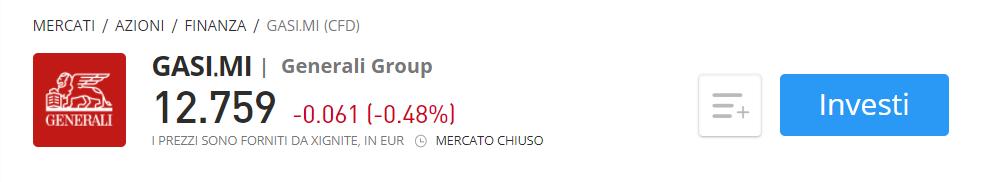 Comprare azioni Generali CFD eToro