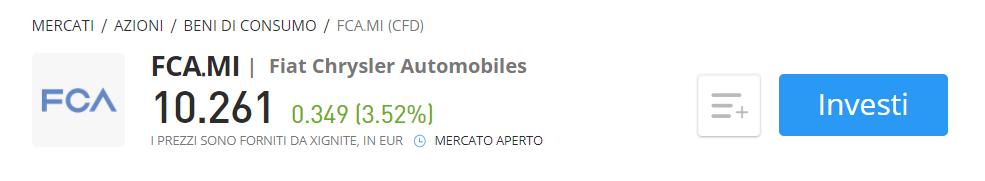 Comprare azioni FCA CFD eToro