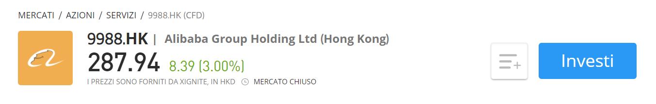 Comprare azioni Alibaba CFD eToro